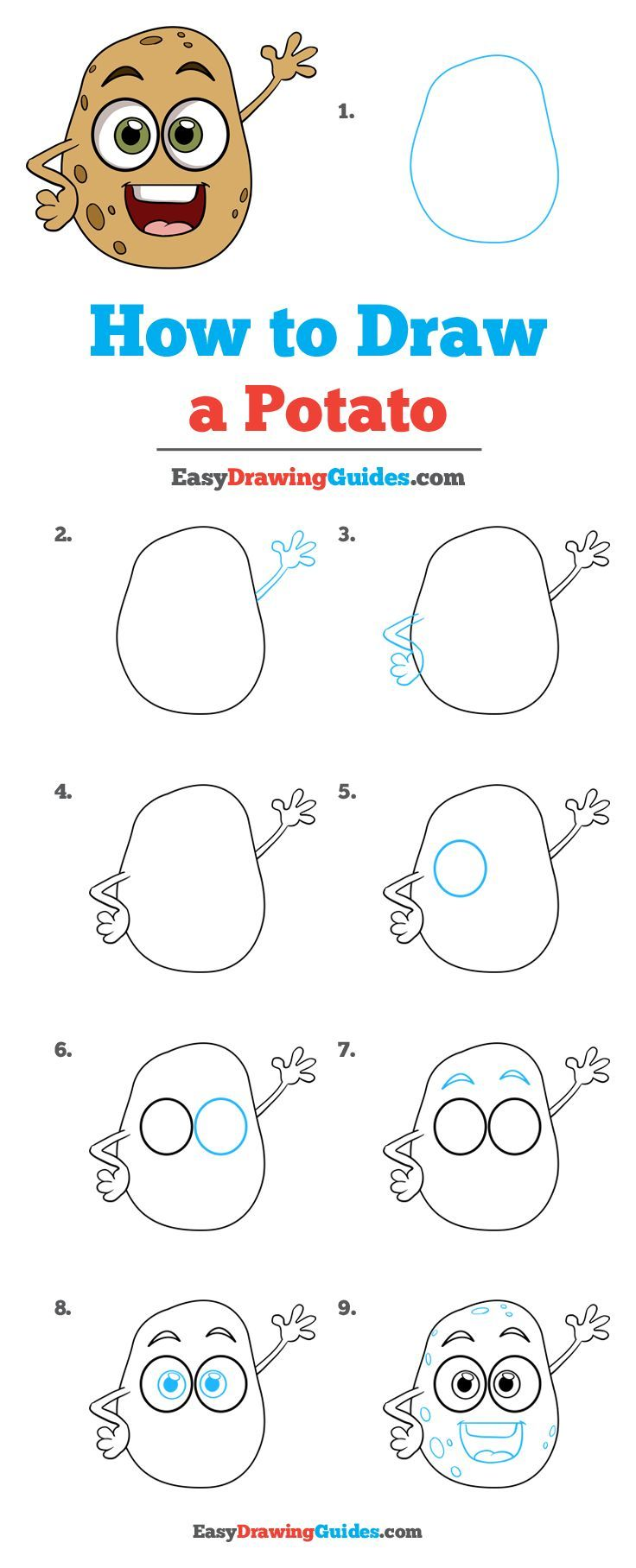 How To Draw A Potato Really Easy Drawing Tutorial Drawing Tutorial Easy Potato Drawing Drawing Tutorial