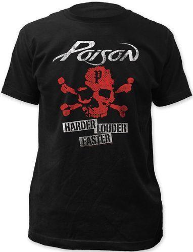 Poison Rock Band Vintage T-shirt - Poison Harder Louder Faster Skull with Crossbones Logo   Men's Black Shirt