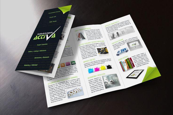 Diseño de tríptico Activa | Dolphin Tecnologías