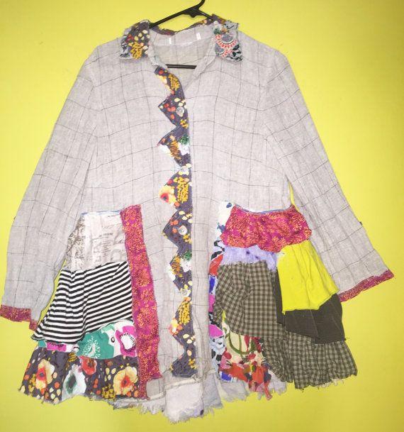 Upcycled Leinen funky Rüschenhemd Jacke passt S M von monapaints