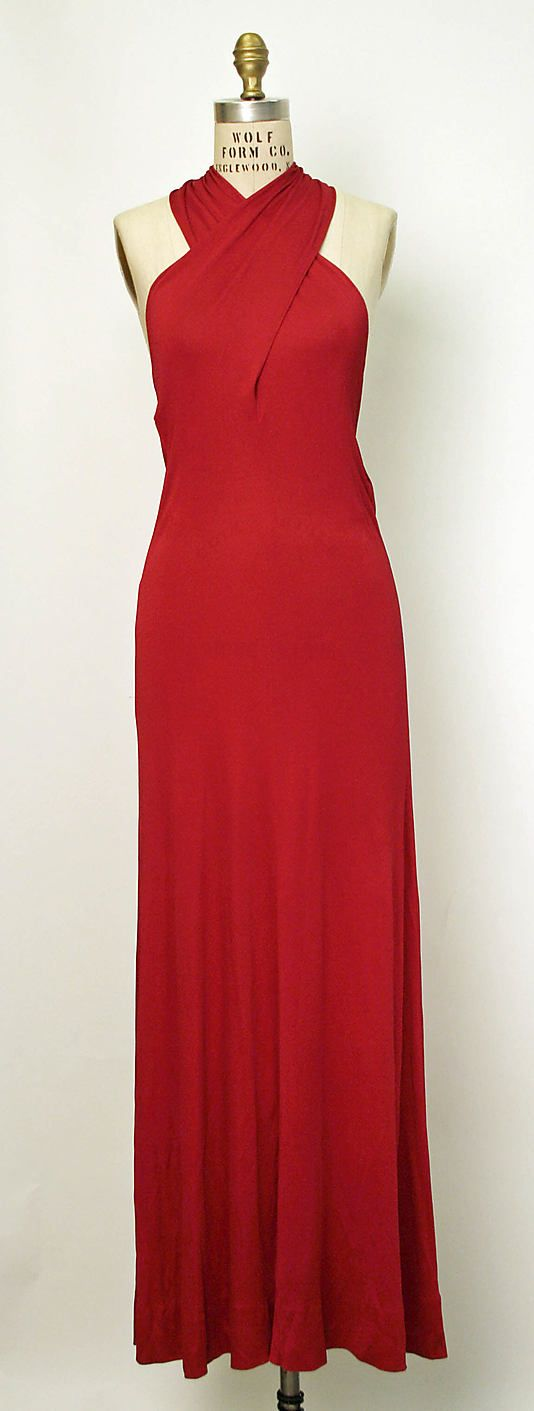 Halston (1932–1990), red, sleeveless evening gown, ca. 1977--yes, but could easily have been a 1930's gown Jean Harlow might have worn.