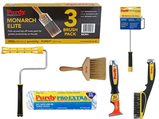 PURDY BRUSH SET, 9  ROLLER & SLEEVE, MINI ROLLER, 6 IN 1 TOOL, DUST & WIRE BRUSH