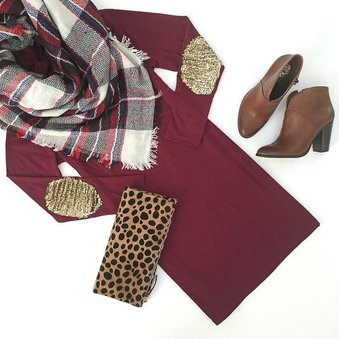 Lantejoula cotovelo vestido de Borgonha, leopardo embreagem foldover e cobertor lenço flatlay