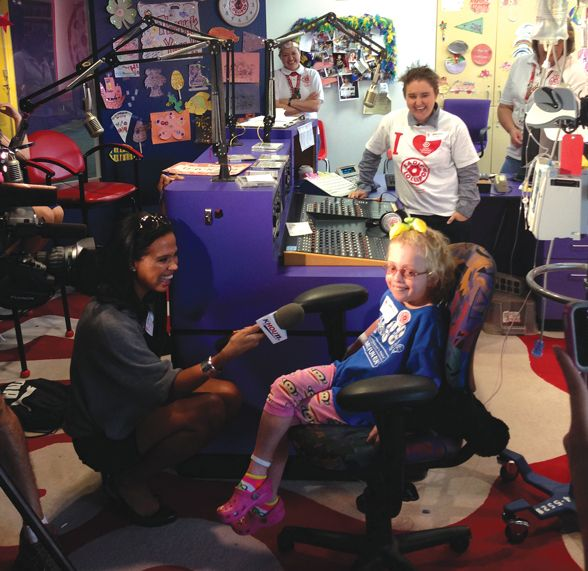 Radio Lollipop is a fully equipped, on-site radio station that broadcasts to patients' rooms via Texas Children's television system.