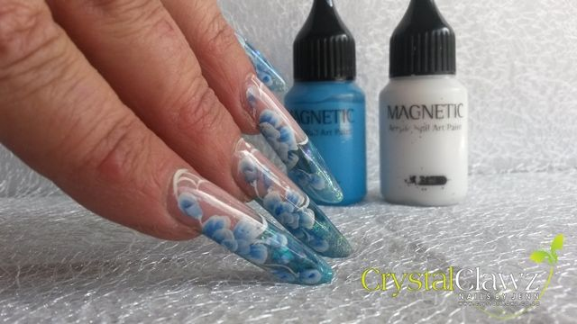 One Stroke with Magnetic's Acrylic Nail Art Paint nail art by Jennifer Miller