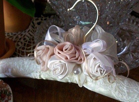 Bridal hanger soft peach apricot satin hand twist rosettes