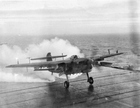 Ted Davis of Oakville, Ontario, flew a Barracuda in the number two position on the port wing of the wing leader, armed with 250-pound and 300-pound bombs, off the aircraft carrier Illustrious. Here a Fairey Barracuda lands on the deck of an aircraft carrier. For more: www.elinorflorence.com/blog/minesweeper-torpedo