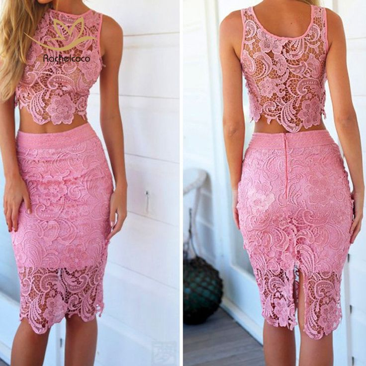 Rachelcoco New Women Lace Set Sleeveless O Neck Crop Tops And Skirt Hollow Out Female Suit White/Black/Pink 2 Pieces