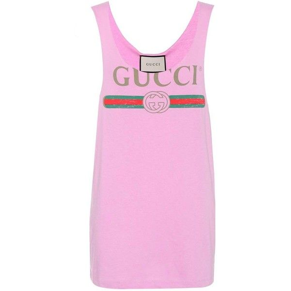Gucci Printed Cotton Tank Top ($390) ❤ liked on Polyvore featuring tops, pink, gucci, cotton singlet, pink top, gucci top and pink tank top