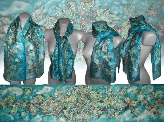 Handpainted silk scarf  Turquoise fairytale 2 silk by JankaLart