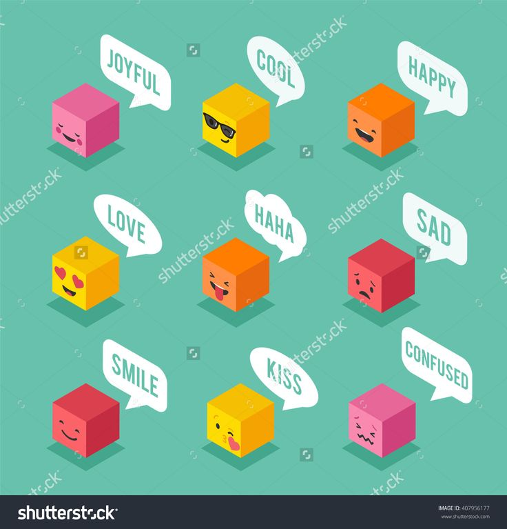 Isometric Emoticons, Emoji Square Colorful Icons With Communication Speech Bubbles Stock Vector Illustration 407956177 : Shutterstock
