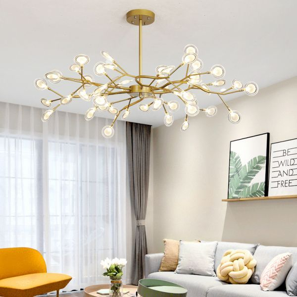 Post Modern Gold Finish Chandelier With Branch Arm Multi Light Metal Ceiling Pendant 45 Living Room Decor Modern Living Room Pendant Modern Chandelier