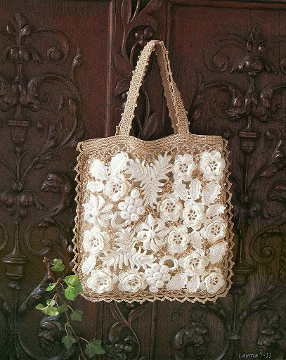 This is a crochet bag but I think it would be pretty with flowers over burlap too!
