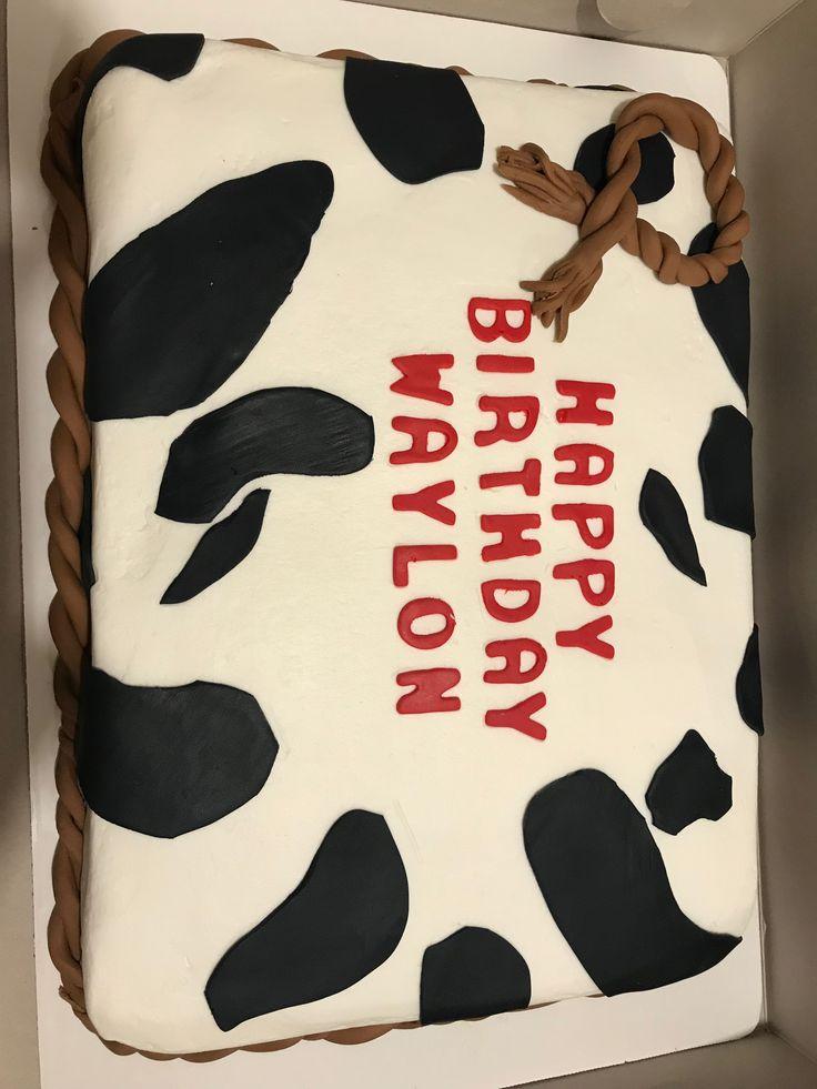 Cow print birthday cake