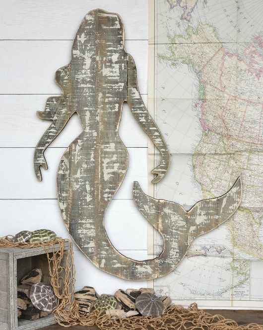 Wood Mermaid Wall Art Pletely Coastal
