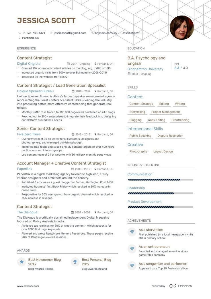 Content Strategist Resume Samples and Writing Guide for