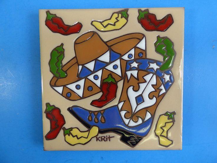 """Ceramic Art Tile 6""""x6"""" Chili pepper trivet wall southwestern New western G96   eBay"""