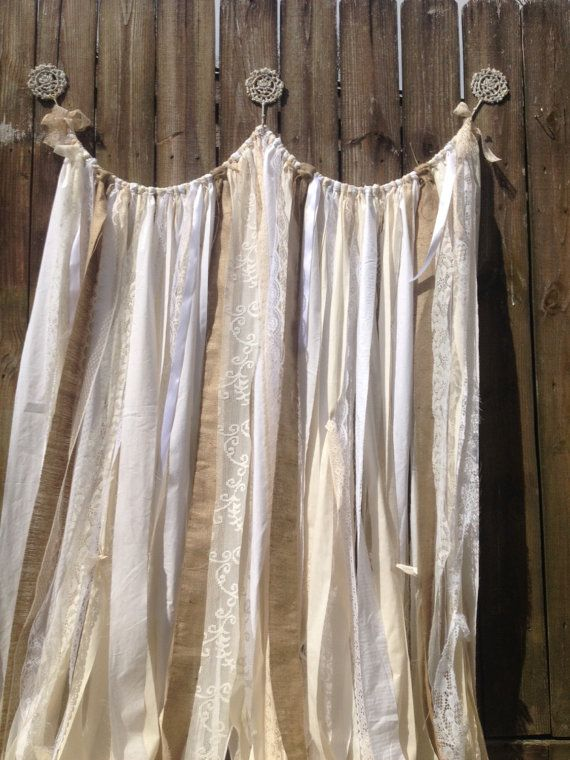 Burlap Curtains Ribbon lace Curtain Rustic by ChangesByNeci