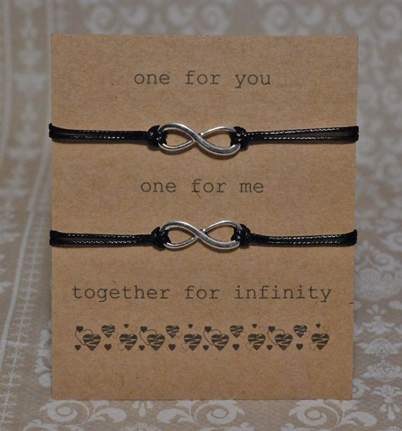 Infinity Bracelet Set on Sentiment Card Black by JellieGJewellery, £3.99