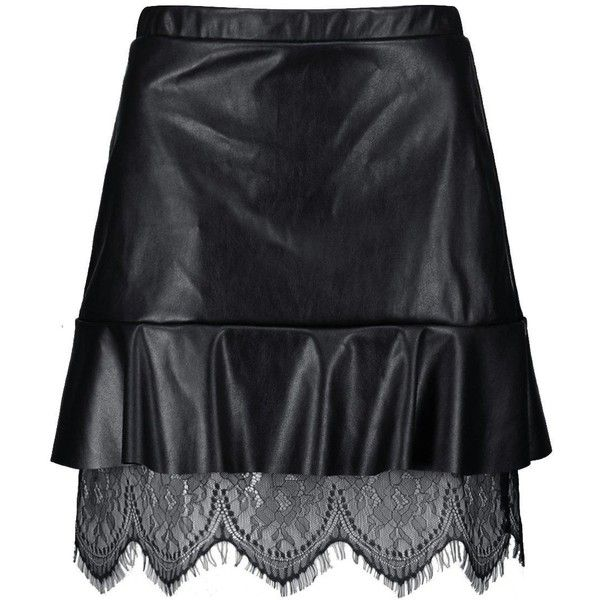 Boohoo Nina Drop Hem Lace Detail Leather Look Mini Skirt | Boohoo ($18) ❤ liked on Polyvore featuring skirts, mini skirts, maxi circle skirt, pleated midi skirt, pleated maxi skirt, faux-leather midi skirts and midi skirt