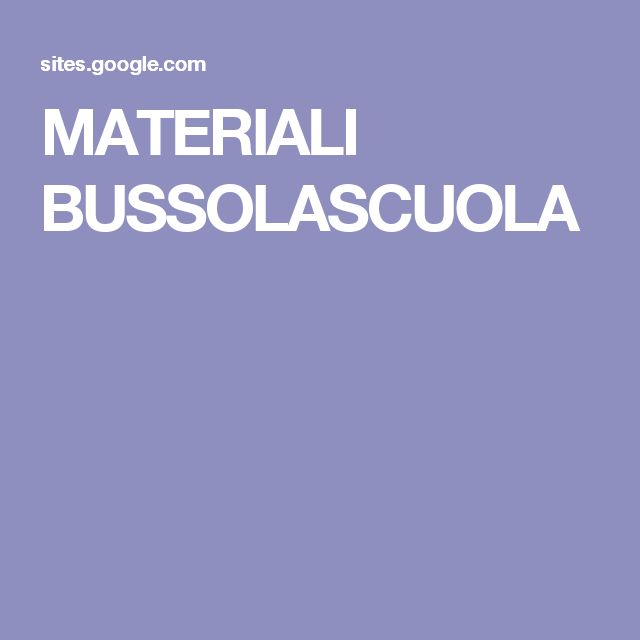 MATERIALI BUSSOLASCUOLA