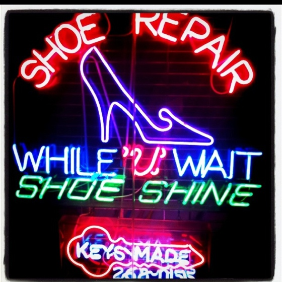 NYC Penn Station, shoe repair, neon sign, neon, sign, shoe repair sign, nyc