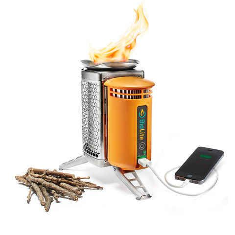 A smokeless stove that generates electricity to charge your personal devices.