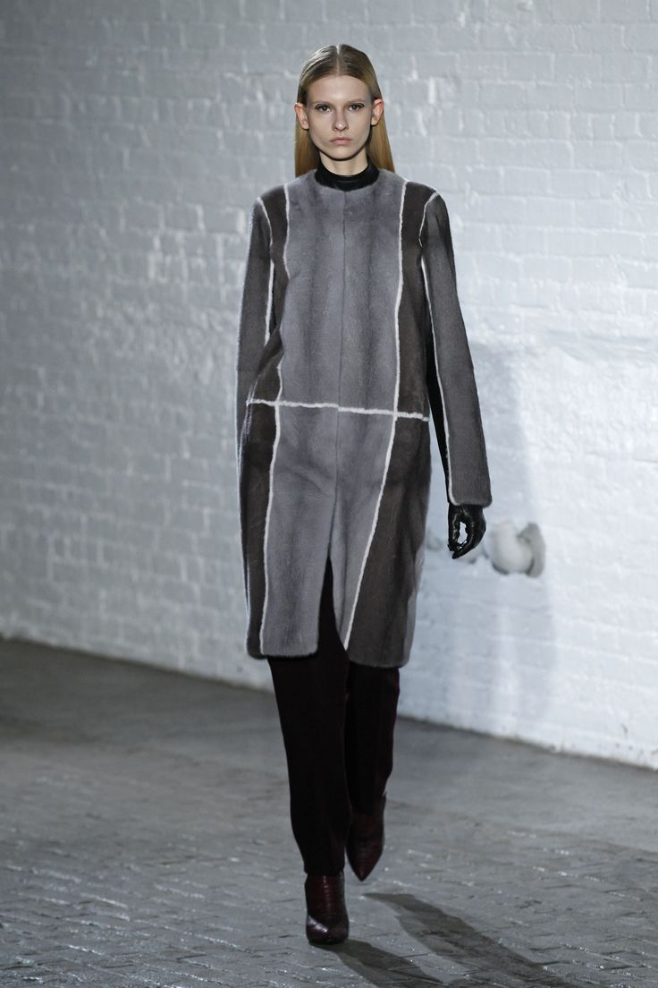 The Color Block Mink Coat, The Sleeveless Lambskin Mock Neck Top And The Double Faced Wool Pintuck Trouser