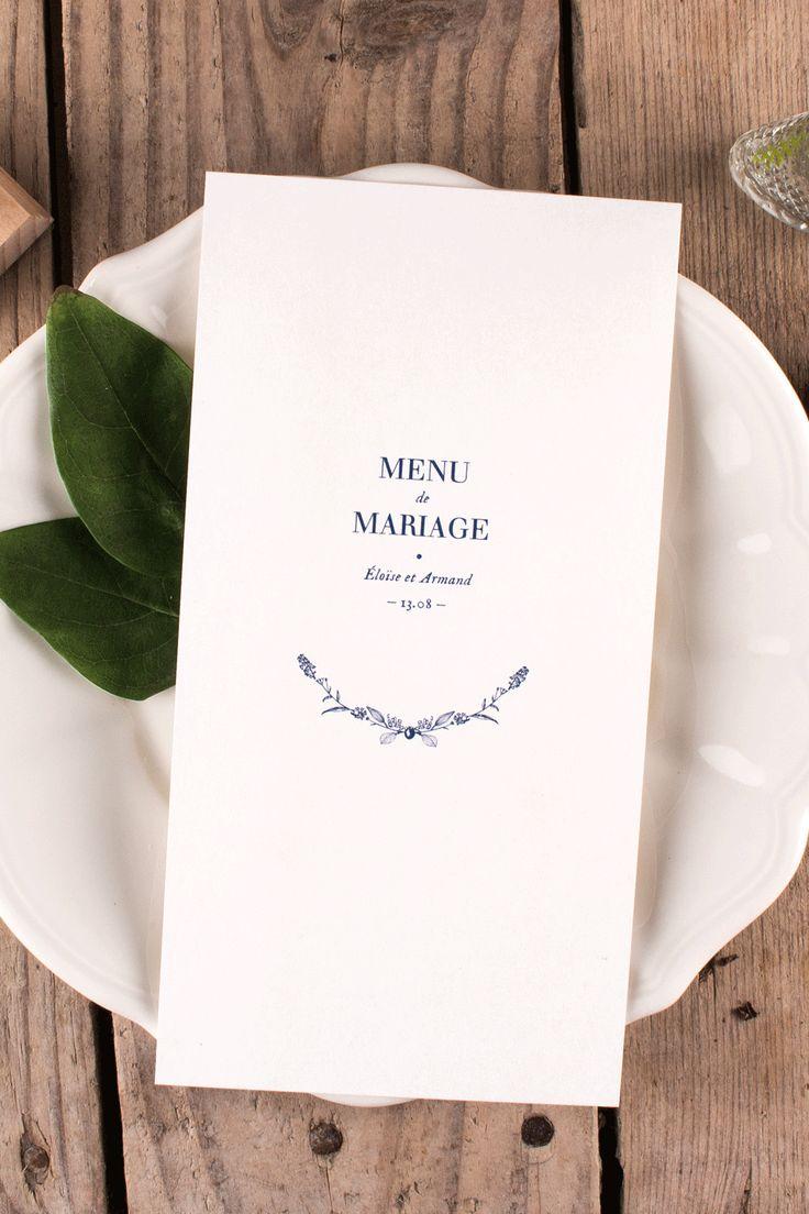 menu de mariage pour ambiance nature et champ tre illustrations bleues vintage wedding. Black Bedroom Furniture Sets. Home Design Ideas