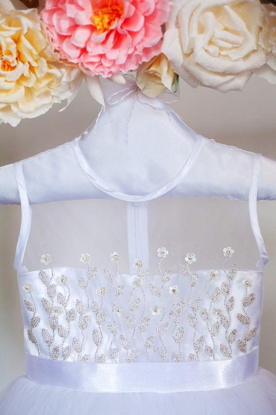 Vestido de blanco Sequine tul princesa vestido de niña de las