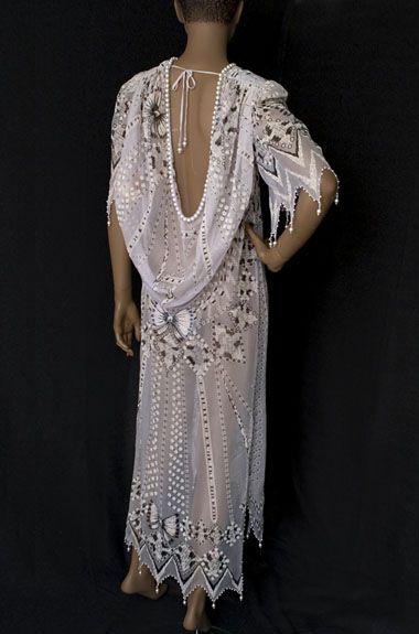 Back view of Zandra Rhodes printed chiffon dress, 1980s | Vintage Textile