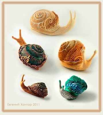 Beautiful polymer clay snails S for Snail: April 2012