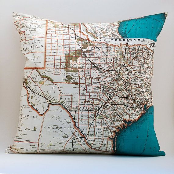 @tracy mahoney .... You should sew a little pink heart or something where you live, this is too cute!...Texas State Map Pillow