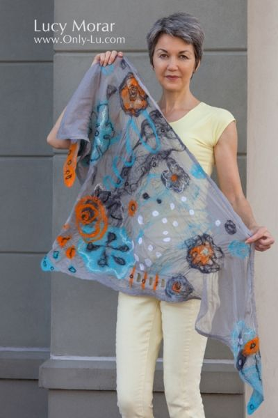 """Twilight Magic"" Nuno Felt Art Triangular Scarf / Hip-Wrap. Lucy Morar  www.Only-Lu.com"