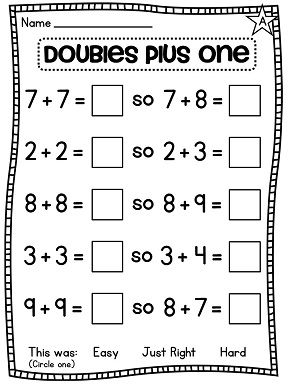 A lot of great differentiated Doubles and Doubles plus one (near doubles) worksheets and activities!!
