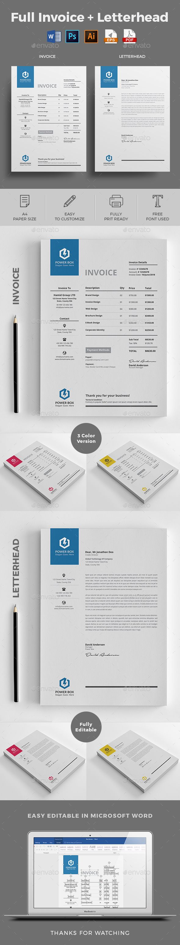 Invoice with Letterhead by jpixel55 INVOICE : This Clean Invoice will help you in your business to save time, organize you product data and customers info and easily
