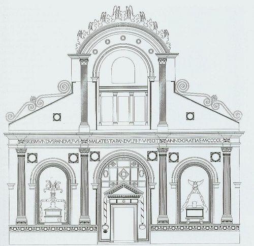 Alberti. Facade of the Tempio Malatestiano According to Albertis Intentions. 1454