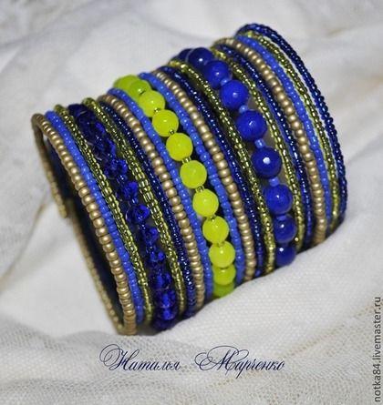 "Мемори-браслет ""Голубые Гавайи"" - мемори-браслет,браслет на мемори,бисерный браслет"