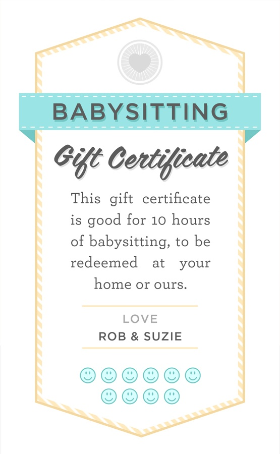 babysitting gift certificate download fully customizable psd or pdf needed for the future. Black Bedroom Furniture Sets. Home Design Ideas