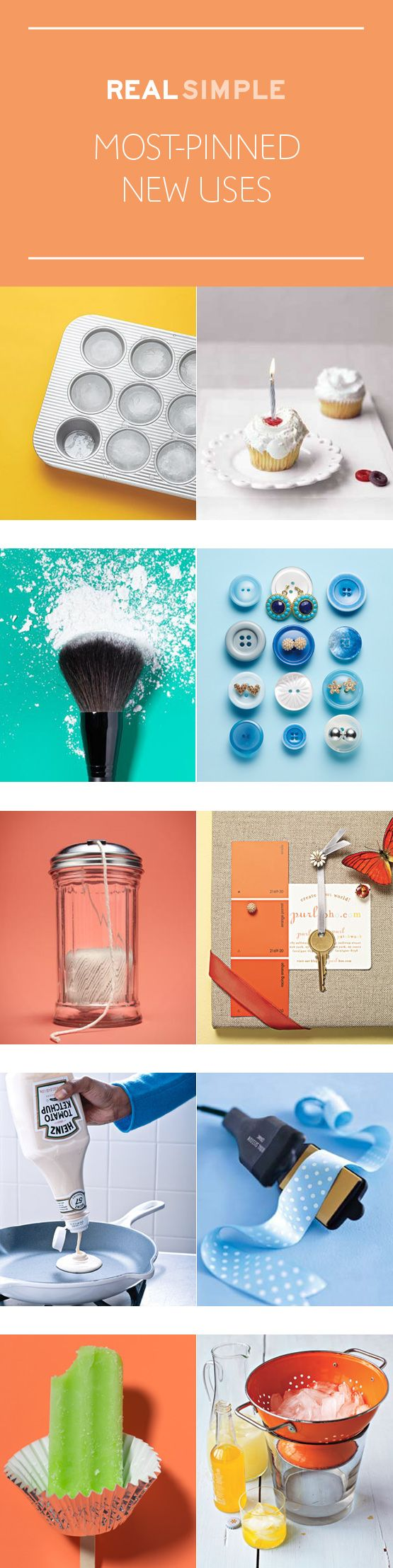 The most popular New Uses for Old Things on Pinterest from Real Simple.