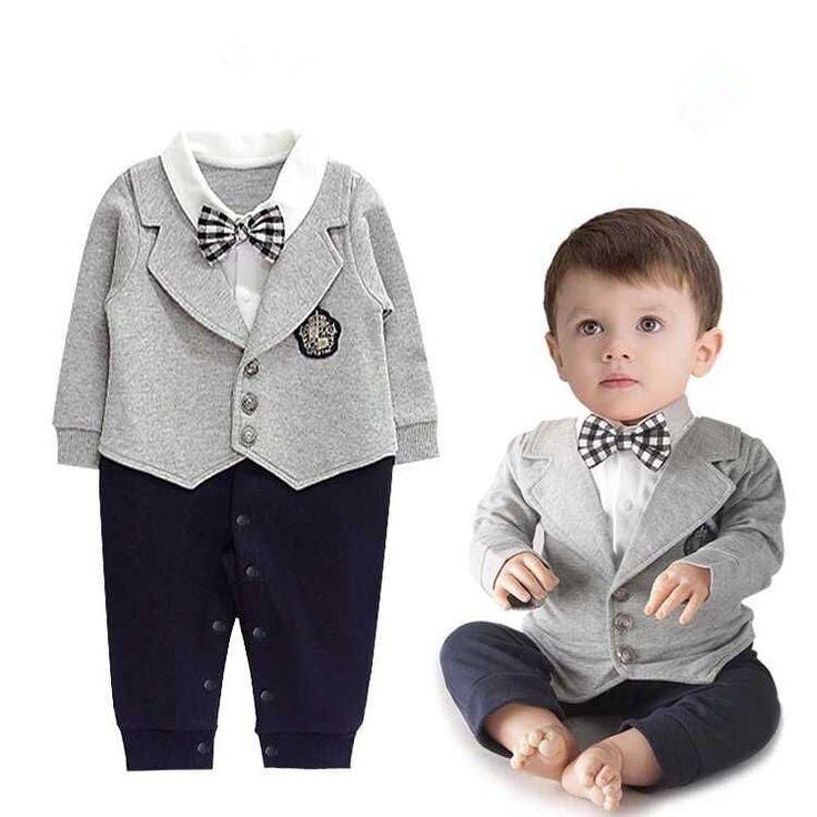 2015 New baby boys romper newborn gentleman bow tie suits spring autumn bebe jumpsuit costume infant clothes roupas de bebe Like if you remember Visit us