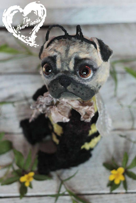 Pug toy Pug gift Pug lover gift Pug puppy Artist teddy dog