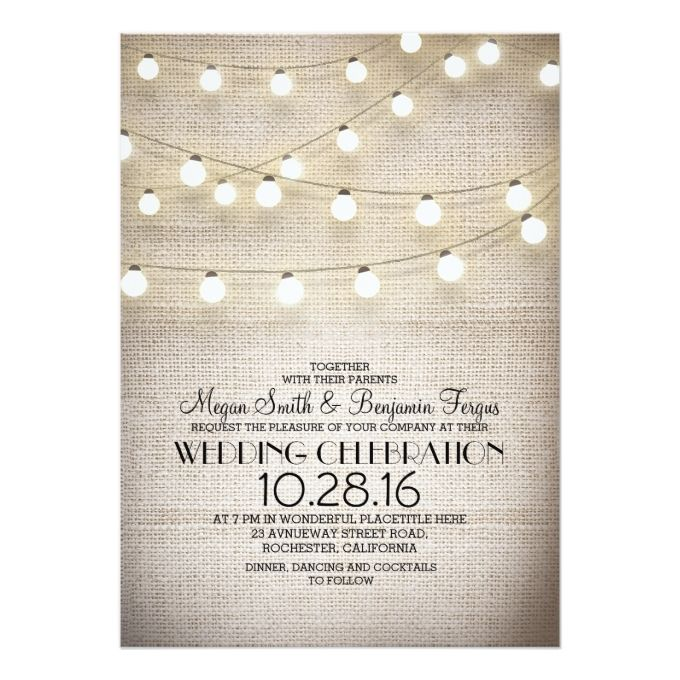 burlap lace and string lights rustic wedding invites