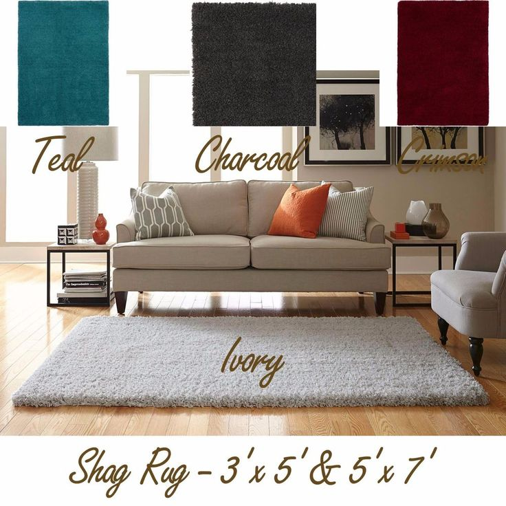 Shag Area Rug Solid Color Thick Soft Home Polyester Plush Carpet 3'x5' & 5'x7' #Welspun #Contemporary
