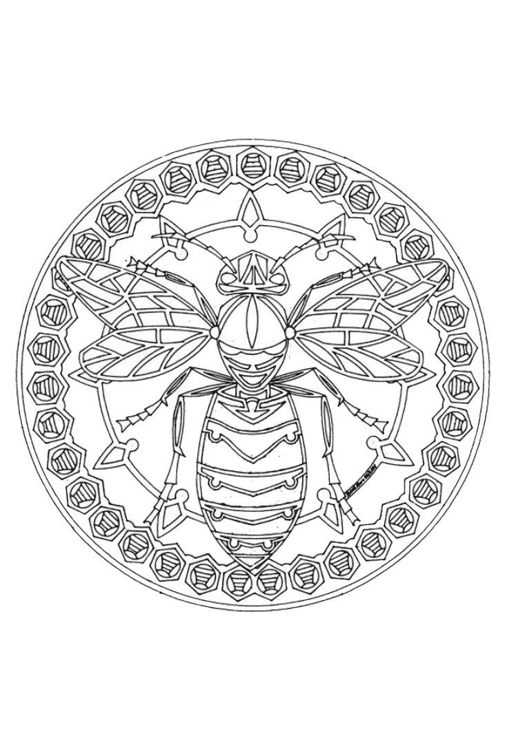 Mandala Wesp In 2020 Mandala Kleurplaten Bijen Kunst Kleurplaten