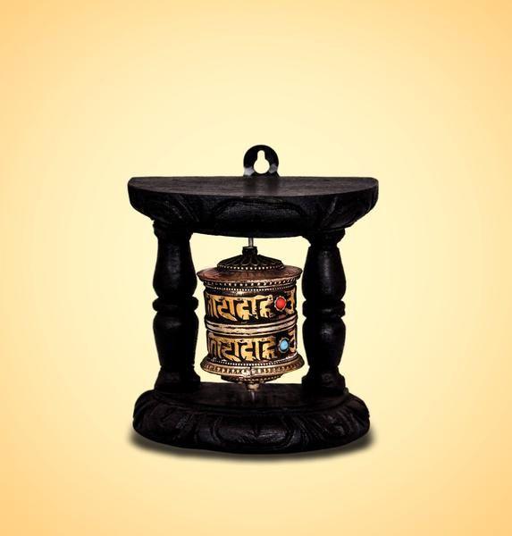 Brown Tibetan Buddhist Brass Copper Prayer Wheel Wall Hanging Wooden @devotionalstore