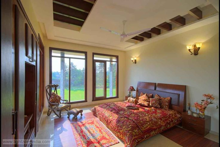 Master bedroom with glass window design by n goyal for Bedroom designs delhi