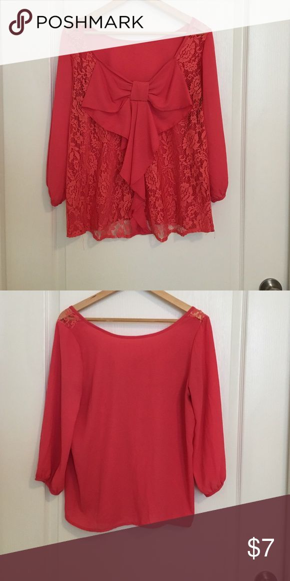 Coral Blouse with bow and lace Coral Blouse with beautiful bow and lace on back of shirt Tops Blouses