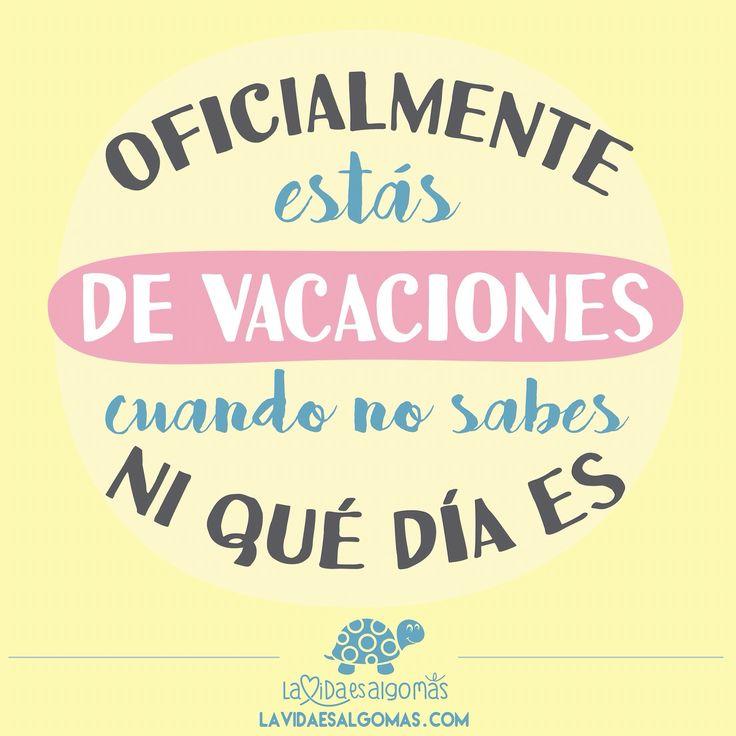 ¡Bienvenido #agosto! ☀️ Bienvenida la playa, el sol, los chiringuitos, los amigos, la familia, el relax total, bienvenidas las ganas de no hacer nada.... Bienvenidas #vacaciones!!!  Si no sabes ni en qué día vives, es síntoma claro de que estás Oficialmente de Vacaciones  ¿Por cierto, sabes qué día es hoy?  #lavidaesalgomas #felizlunes #agostoyaestaaqui #verano #felizverano #frases