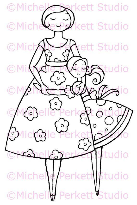 Digital Stamp Image Thanks Mum Mom Mother's Day Daughter Scrapbooking Cardmaking